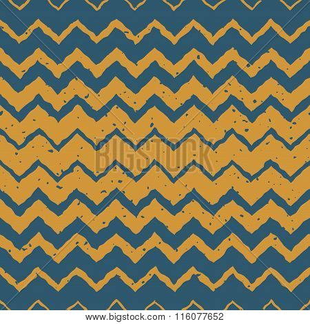 Vector Seamless Blue Yellow Color Hand Drawn Horizontal Gradient Halftone Zigzag Distorted Lines Gru