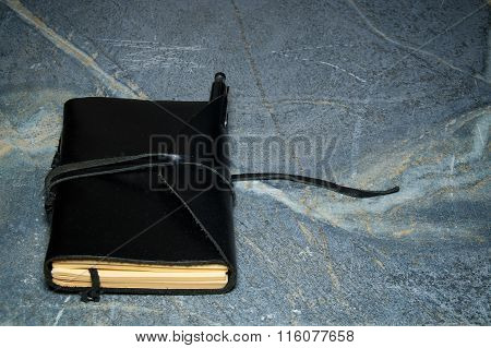 Closed Leather Bound Diary