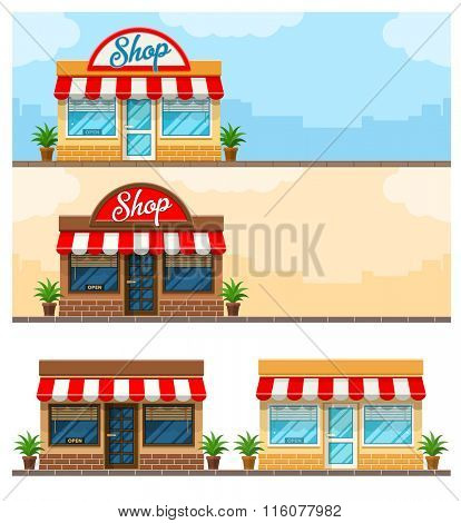 Facade exterior shop flat design with sign. Vector illustration. Isolated on white background. Transparent objects used for lights and shadows drawing