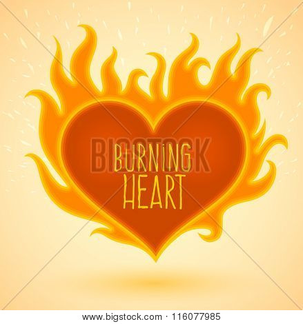 Symbol of burning heart with fire flames. Vector illustration. Transparent objects used for lights and shadows drawing