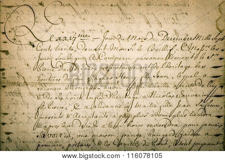 Antique Letter Handwritten Text. Stained Texture Background