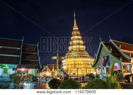 Wat Phrathat Hariphunchai Worra Mahawiharn on quiet nights in Lamphun Province Thailand