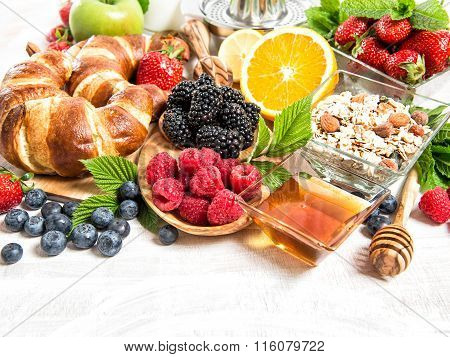 Breakfast Croissants, Muesli, Fruits, Berries. Healthy Food