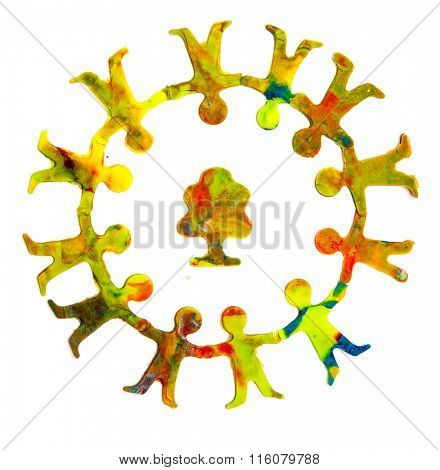 Ecology concept. Plasticine of people embracing a tree