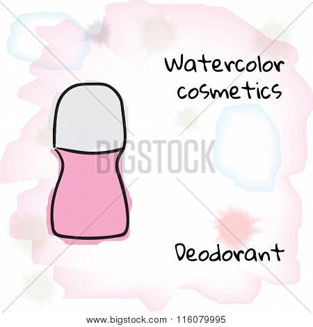 Watercolor cosmetics. Watercolor deodorant on a blurred background