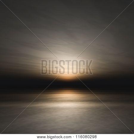 Dark Sunset Over Sea