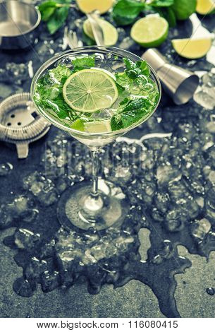 Cocktail With Lime, Mint, Ice. Bar Drink Accessories. Vintage Style