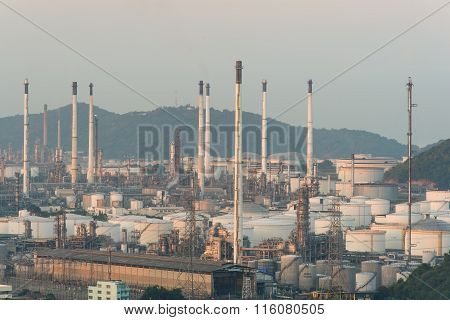 Oil Refinery Factory And Storage Tanks In Morning ,thailand