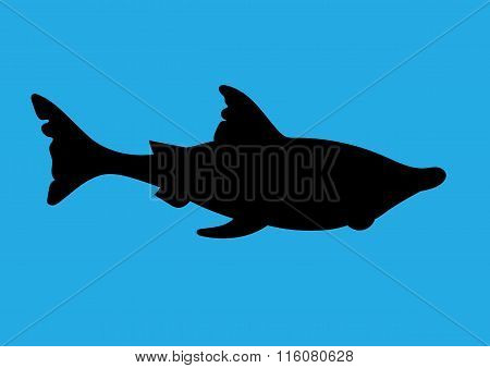 Illustration Of A Silhouette Of A Shark