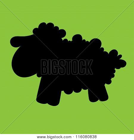 Illustration Of A Silhouette Lamb With Blue Eyes