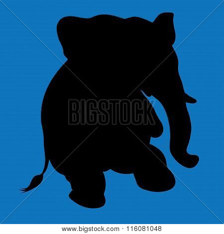 Illustration Of A Silhouette Elephant.