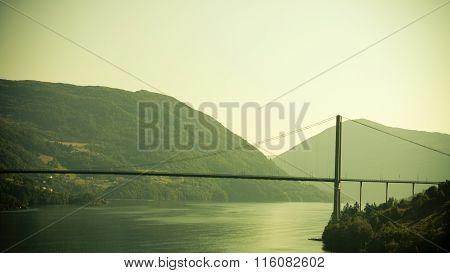 Suspension Bridge In Bergen, Norway