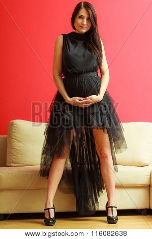 Stylish Pregnant Woman In Black.