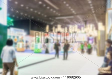 Image Of Blurred City Hall And People Urban Scene, Can Be Used As Abstract Blur Background