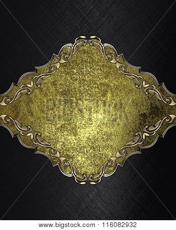 Abstract Black Background With A Gold Plate. Element For Design. Template For Design. Copy Space For
