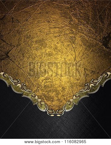 Abstract Gold Background With A Black Bottom. Element For Design. Template For Design. Copy Space Fo