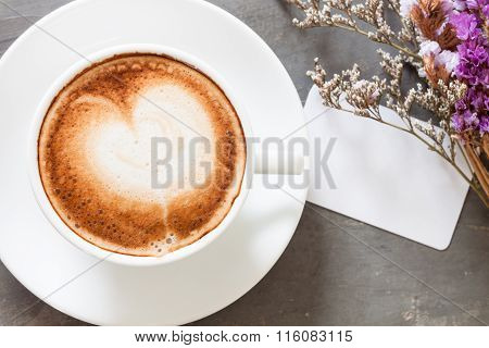 Coffee Cup With Name Card On Grey Background