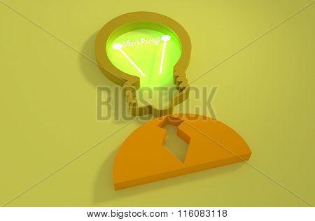 Lamp Head Businessman 3D Icon. Thinking Text