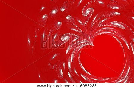 abstract fractal background, heart, love, spiral
