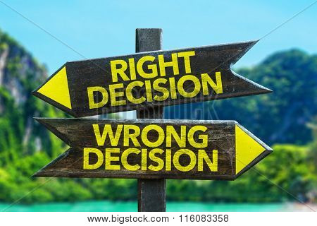 Right Decision - Wrong Decision signpost in a beach background