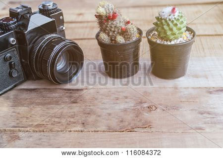 Old Retro Camera On Vintage Wooden Boards, Abstract Background