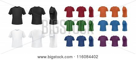 Big t-shirt template set, perspective, side and back views