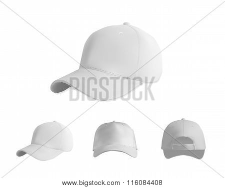 Baseball cap blank white template set