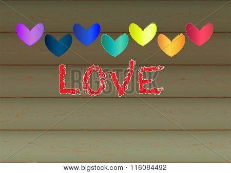 Valentine Heart Shape Design For Love Symbols. Retro Style. Vector Illustration.
