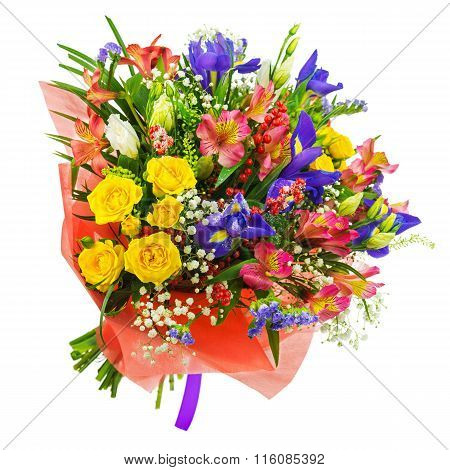 Bouquet Of Roses, Iris, Alstroemeria, Nerine And Other Flowers.