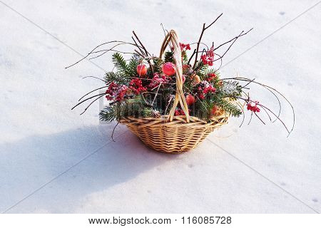 Composition Of Fir Branches, Rowan And Apples.