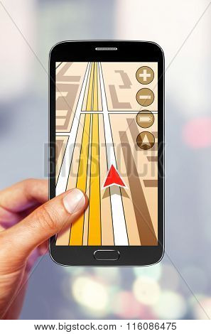 Navigation on the smartphone screen for tourist
