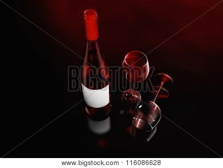 Closed Burgundy Red Wine Bottle.