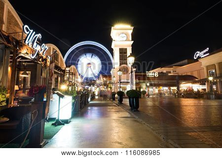 BangkokThailand-May 16 2015:Tourist visit Asiatique The Riverfront at night.Over 500 fashion boutiques housed in Factory District of Asiatique The Riverfront.