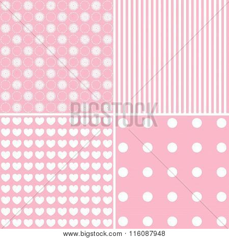 Vector Set Of 4 Background Patterns In Pink
