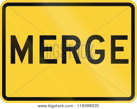 Road Sign Used In The Us State Of Delaware - Merge