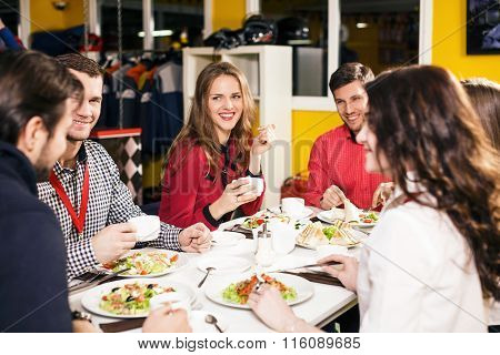 People sitting at the banquet table