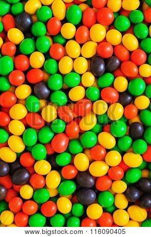 Pile Of Colorful Chocolate Coated Candy.