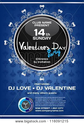 Vector Rich Night Party Valentine's Day. Template Poster Graphic