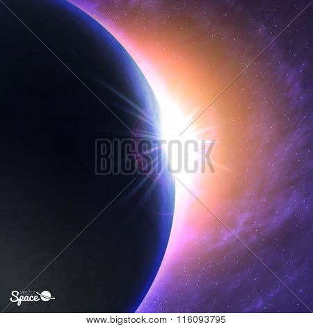 The Sun rising over the Earth. Beautiful dawn from space point of view on cosmic background. Vector