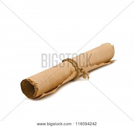 Scroll old paper close-up isolated on white background