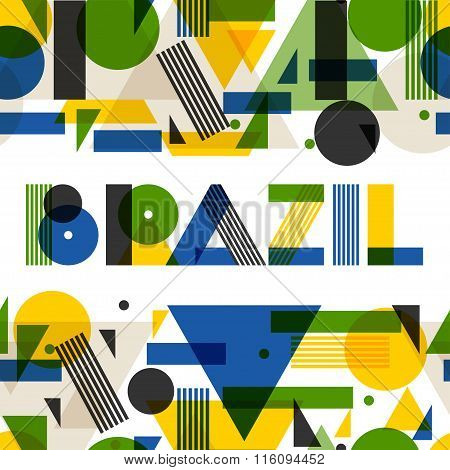 Background with Brazil in abstract geometric style. Design for covers, tourist brochure, advertising