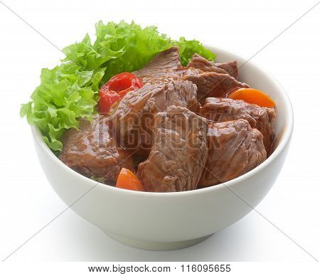 Beef Goulash With Lettuce In The Bowl