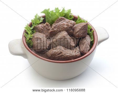 Beef Goulash With Lettuce In The Rural Bowl