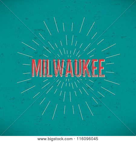 Abstract Creative concept vector design layout with text - Milwaukee. For web and mobile icon isolat