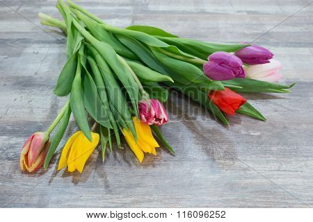 Fresh colorful tulip flowers bouquet on wooden table