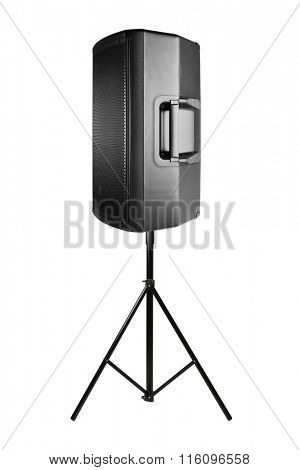 professional audio speaker PA on the tripod, isolated on white