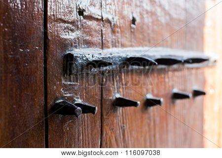 Old door with thorns