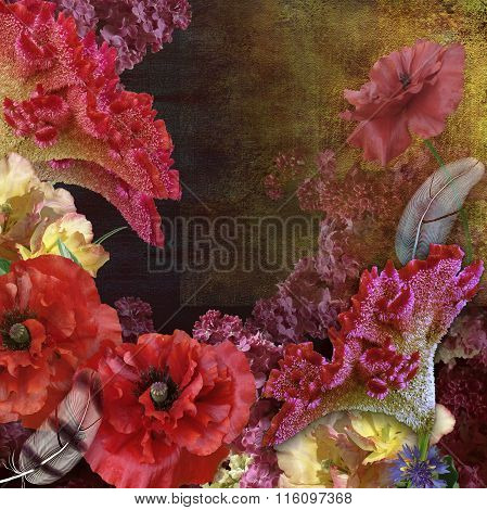 Floral Design Bouquet On Abrasions shabby Background