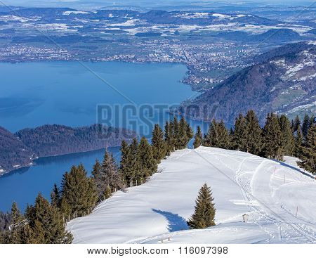 View From Mount Rigi In Winter