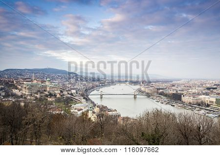 Budapest Cityscape In Wintertime, Hungary